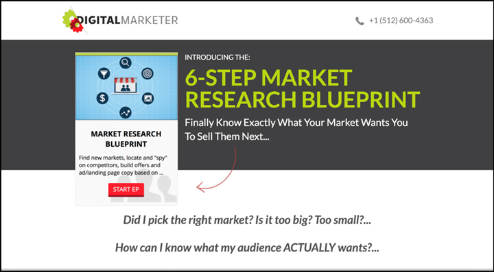 Product page for DM's Market Research Blueprint