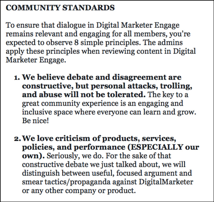 An excerpt from DM Engage's current Community Guidelines