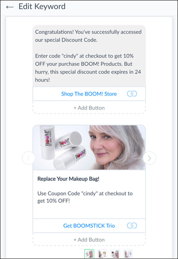 Write your automated message. Include your coupon code and a link to your shop.