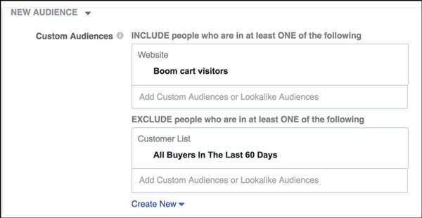 Target people who have visited your website, and exclude anyone who made a purchase.