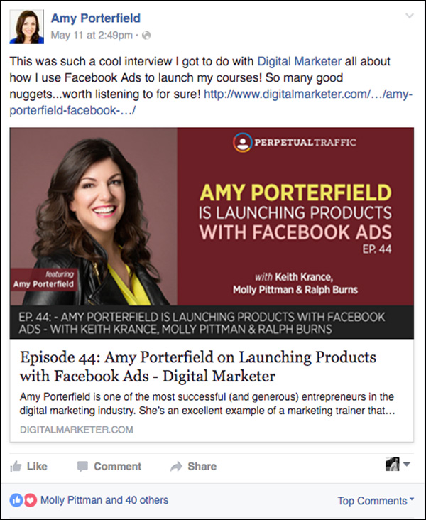 Amy Poterfield shares on her Facebook page the Perpetual Traffic podcast episode she was a guest on.