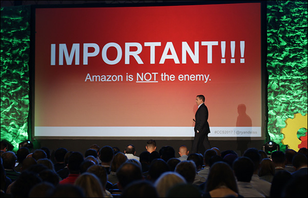 """""""Amazon is not the enemy."""" Ryan Deiss during his opening keynote at Content & Commerce Summit 2017."""