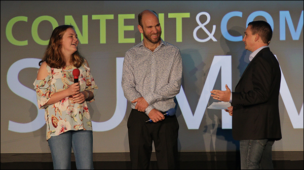 Ryan Deiss interviewing Ella and James Pader at Content & Commerce Summit 2017.