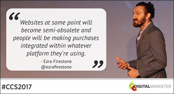 """""""Websites at some point will become semi-obsolete and people will be making purchases integrated within whatever platform they're using."""" ~Ezra Firestone"""