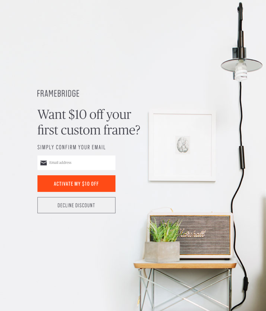 Framebridge offers a $10 off Lead Magnet