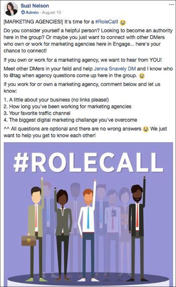 An example of a Admin post from DM Engage that calls out to community members who are experts on marketing agencies