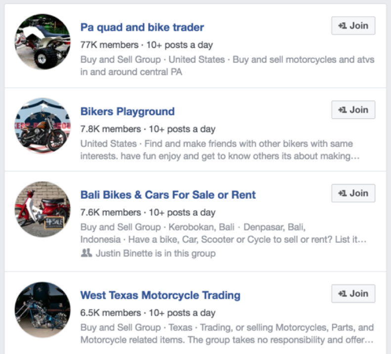 Facebook motorcycle groups