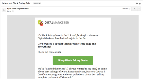 DigitalMarketer email with a CTA button within the body