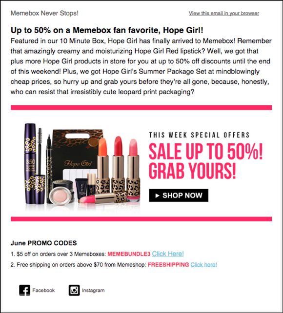 Memebox promotional email