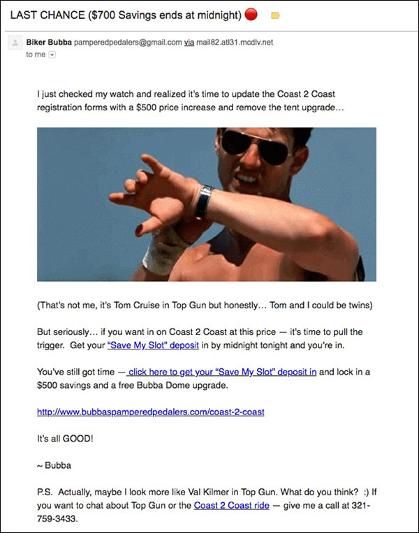 One of the closing emails for Coast 2 Coast using humor and a Top Gun meme