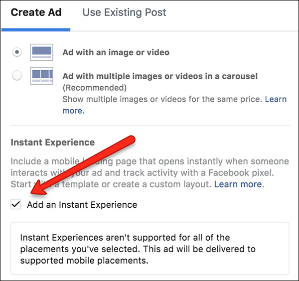 "Check the box next to ""Add an Instant Experience"""