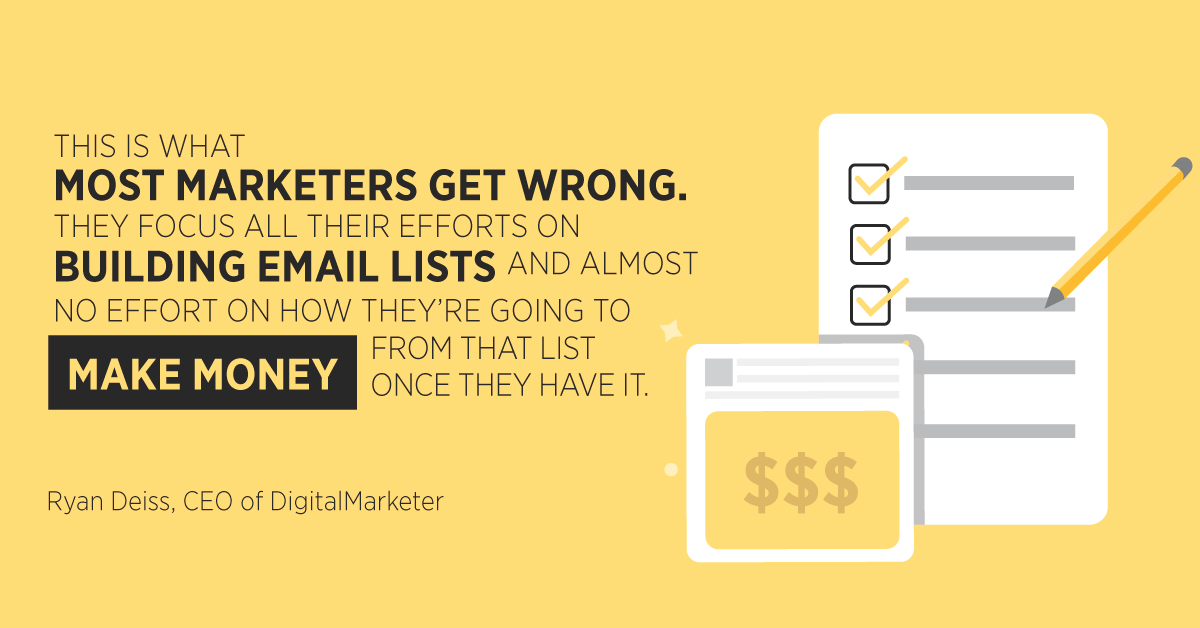 """""""This is what most marketers get wrong. They focus all their efforts on building email lists, and almost no effort on how they're going to make money from that list once they have it."""" Ryan Deiss, CEO of DigitalMarketer"""