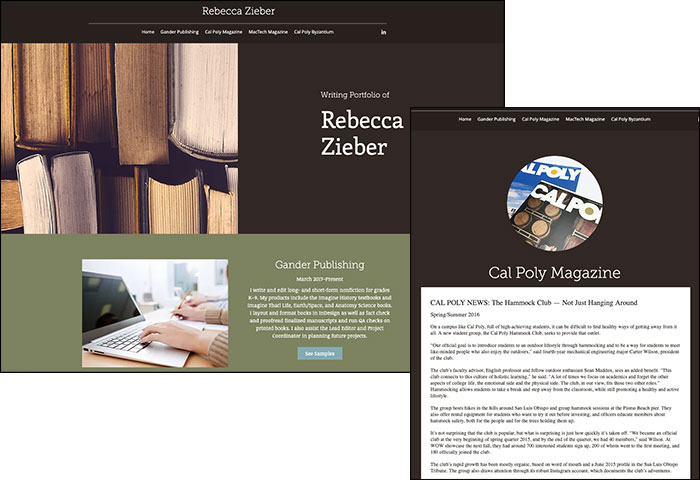 An example of a writing portfolio you might see from a freelancer