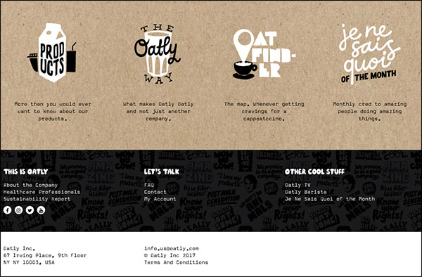 Oatly's below the fold on the landing page