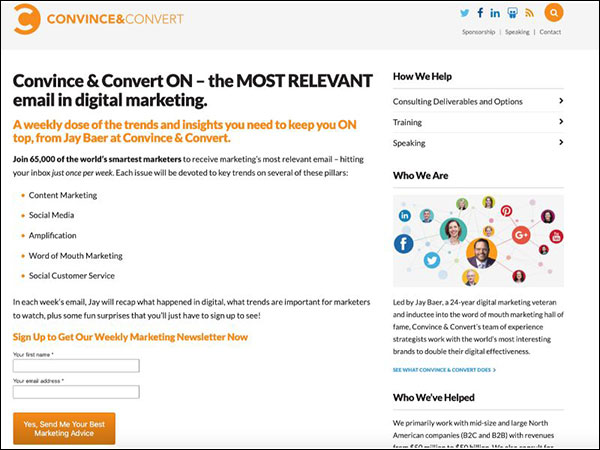 Convince & Convert ON Email Newsletter