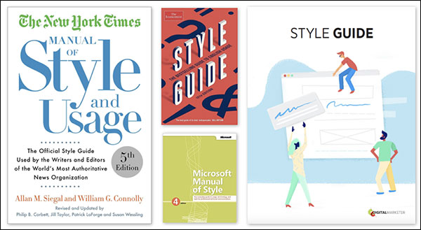 Examples of style guides from The New York Times, Microsoft, and DigitalMarketer