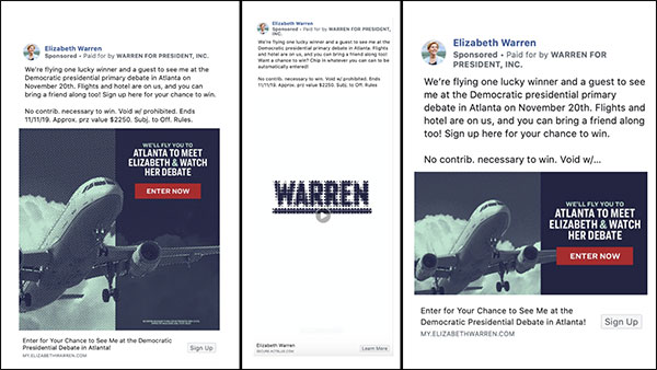 3 Examples of Warren's Facebook ad campaign to come to the Atlanta debate