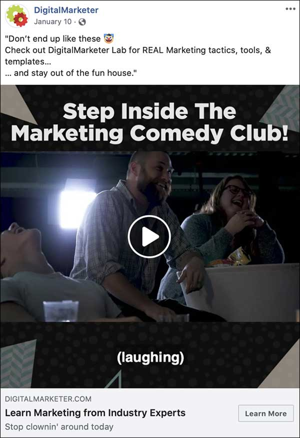 DigitalMarketer's Step Inside The Marketing Comedy Club Facebook video ad