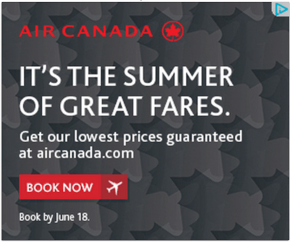An Air Canada ad with CTA Book Now
