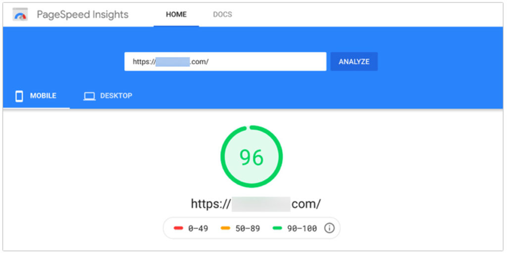 PageSpeed Insights for mobile with a score of 96