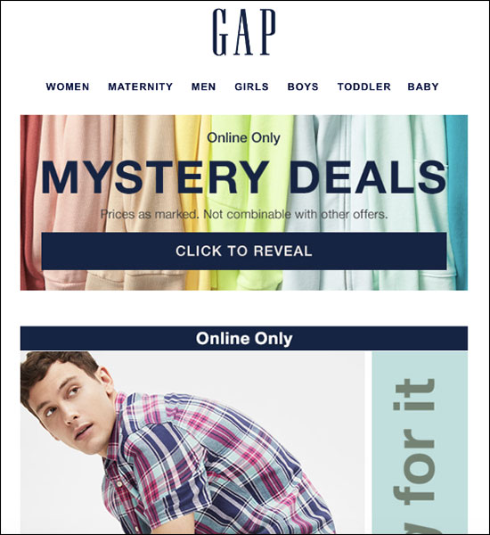 Gap broadcast email example