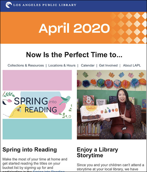LA Public Library broadcast email example