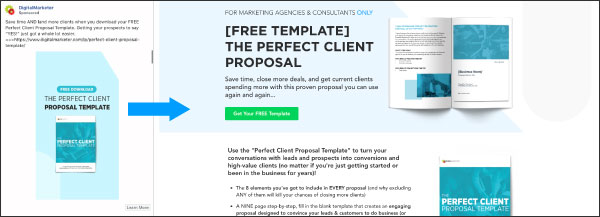 An example of an offer from DigitalMarketer, The Perfect Client Proposal Template