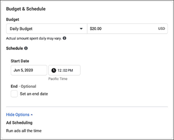 Facebook budget & schedule options
